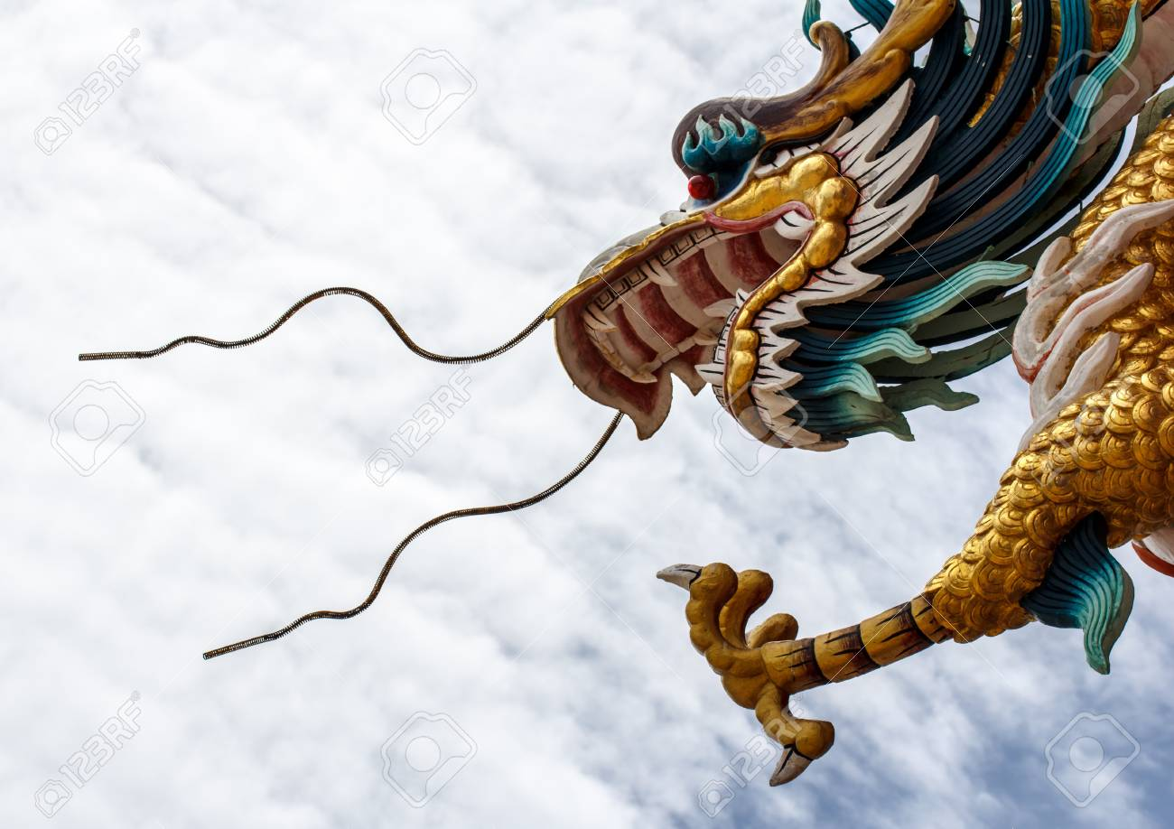 Sky blue beautiful  and gold dragon Stock Photo - 20301174