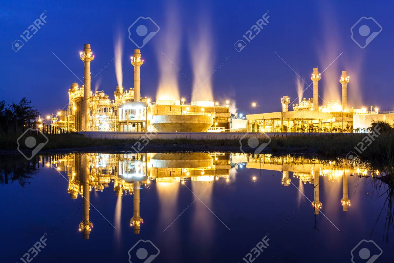 Light Industry Power Plants And Beautiful At Dawn. Stock Photo   85489621