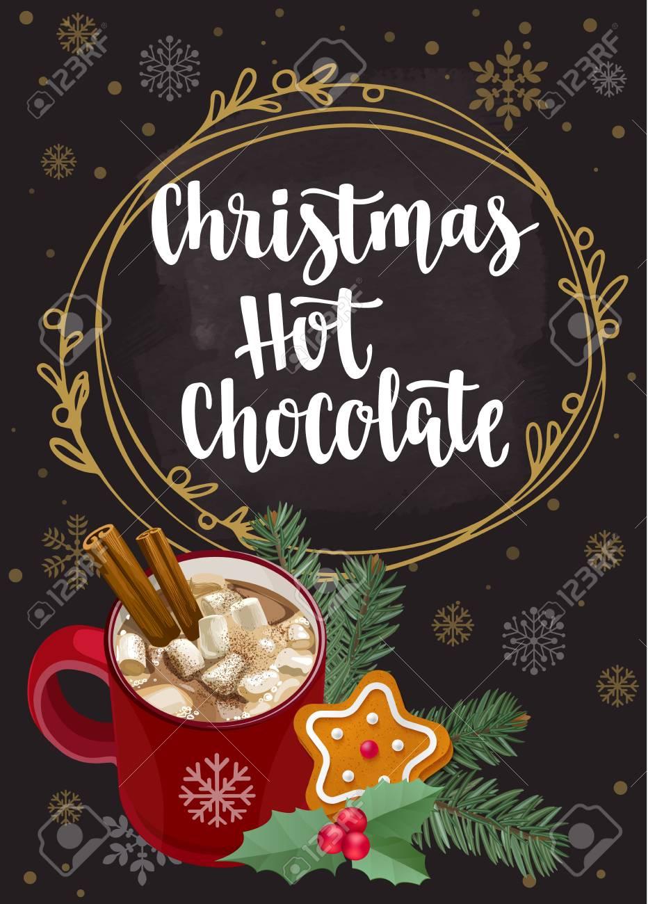 Warming Getränk Mit Weihnachtsdekor, Handschriftliche Pinselschrift ...
