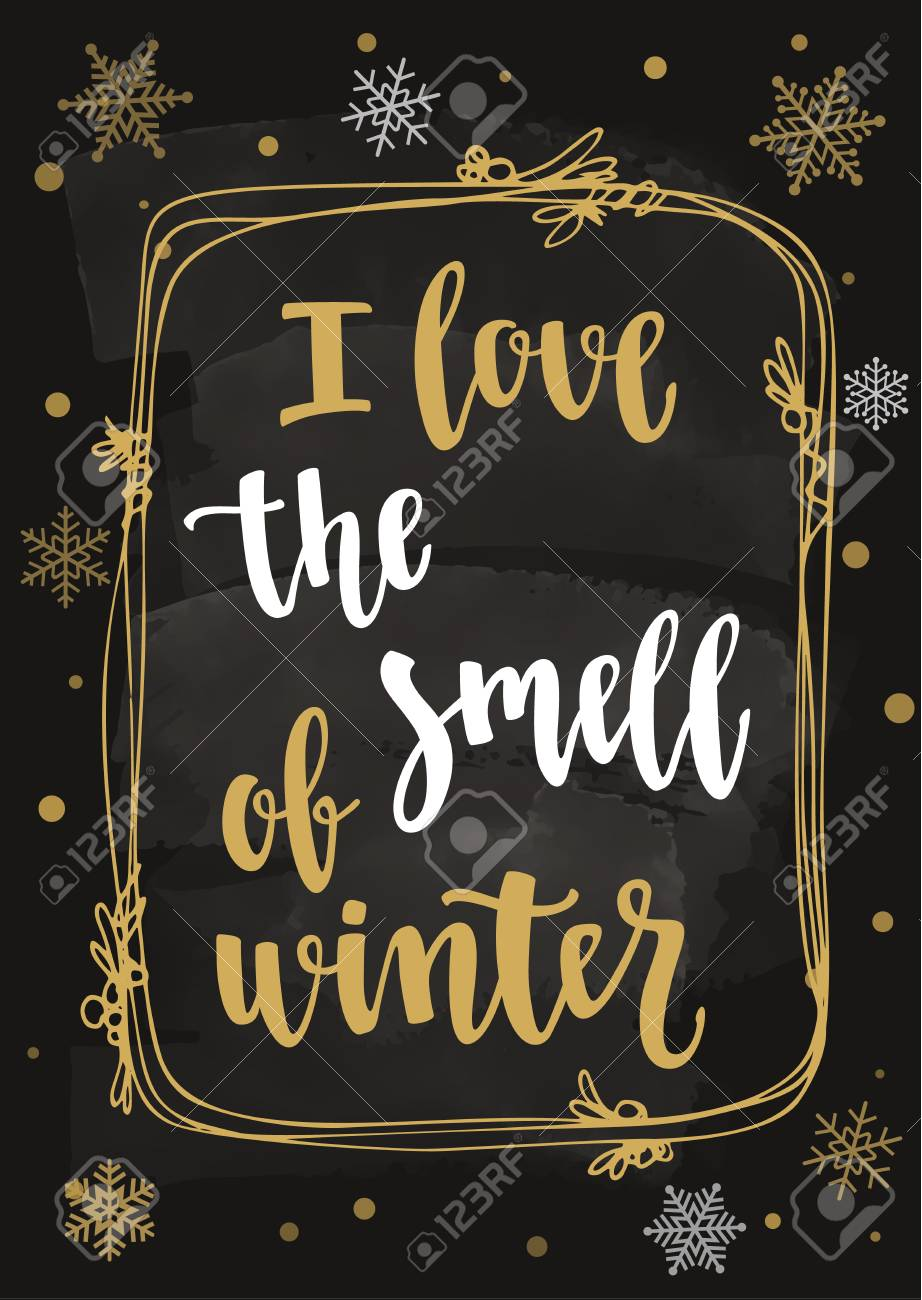 Hand Drawn Design Elements And Winter Seasons Phrase Vector