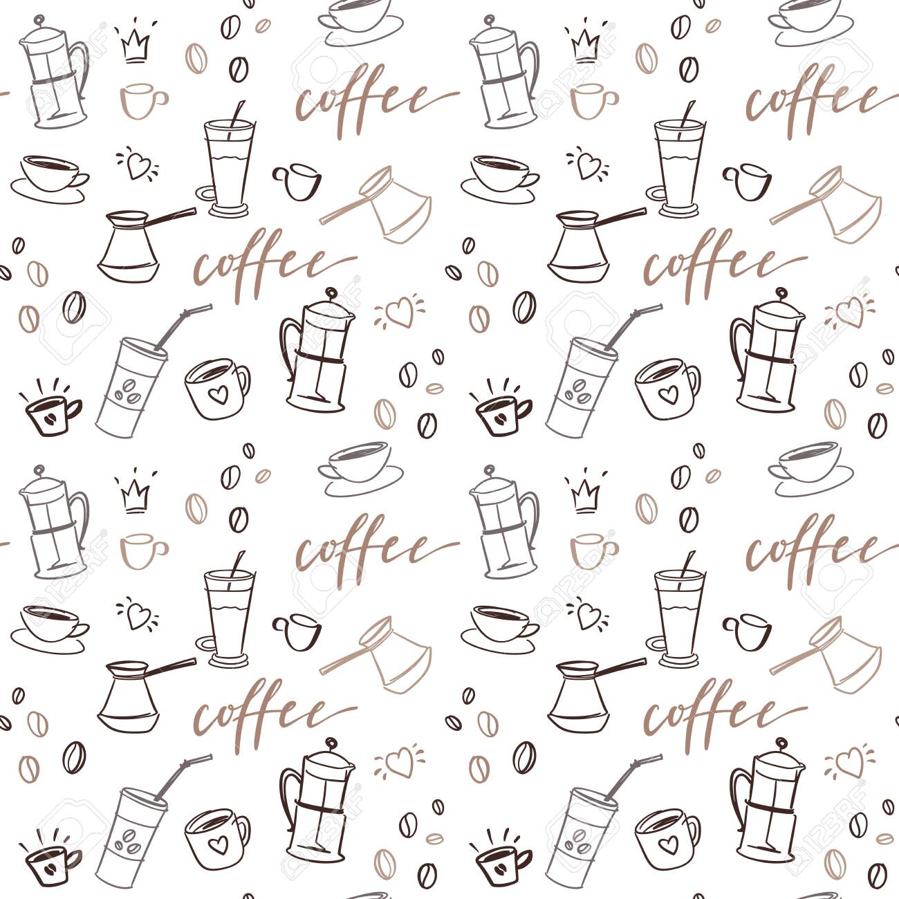 Background with beverages dishes line art and calligraphy on white background. - 139015361