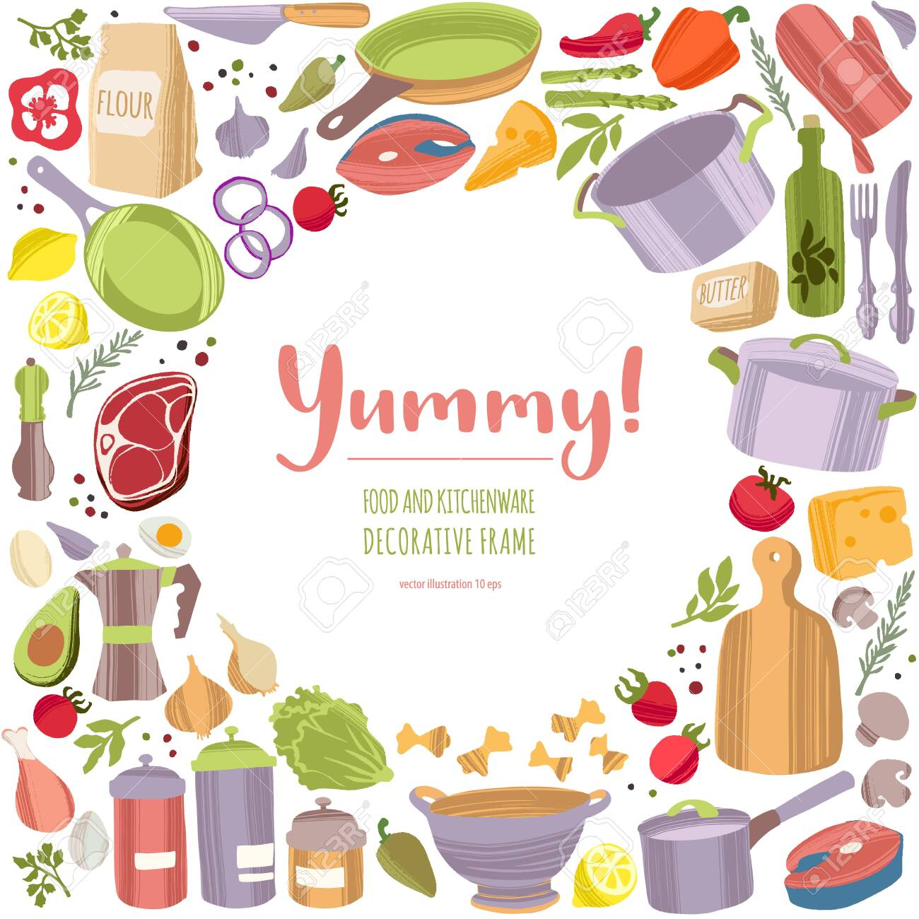 Kitchen tools and healthy food decorative frame. - 144451049