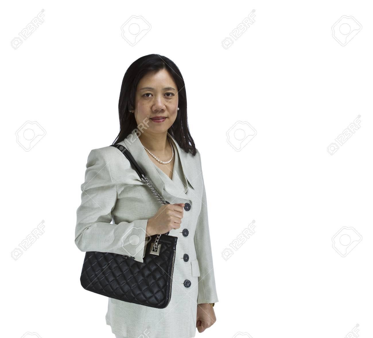 D'affaires Asiatique Habillé En Costume Blanc Avec Formelle Femme PkTOXZui