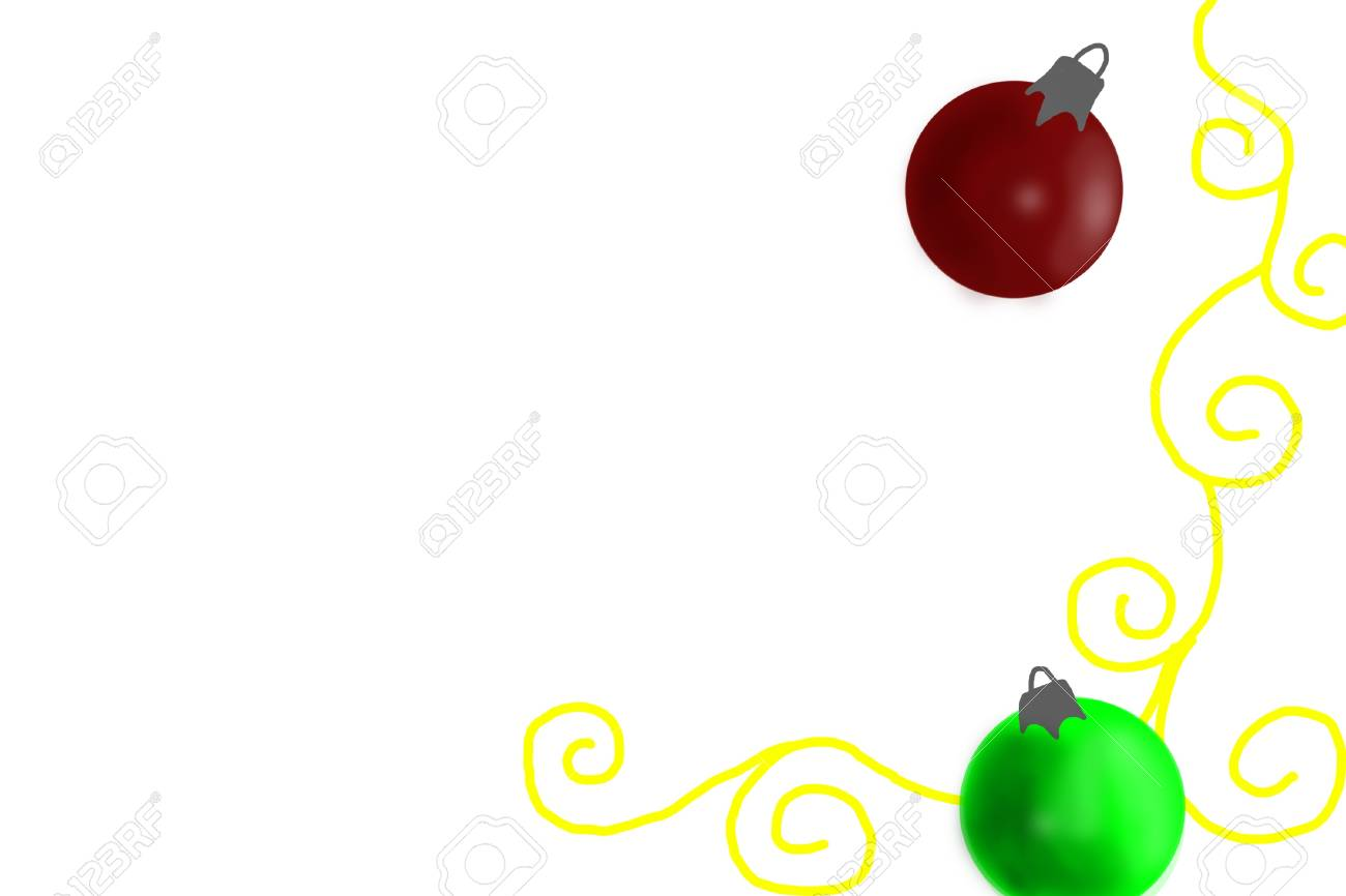 Drawings Of Christmas Ornaments.Drawing Of Christmas Ornaments On White Background Stock