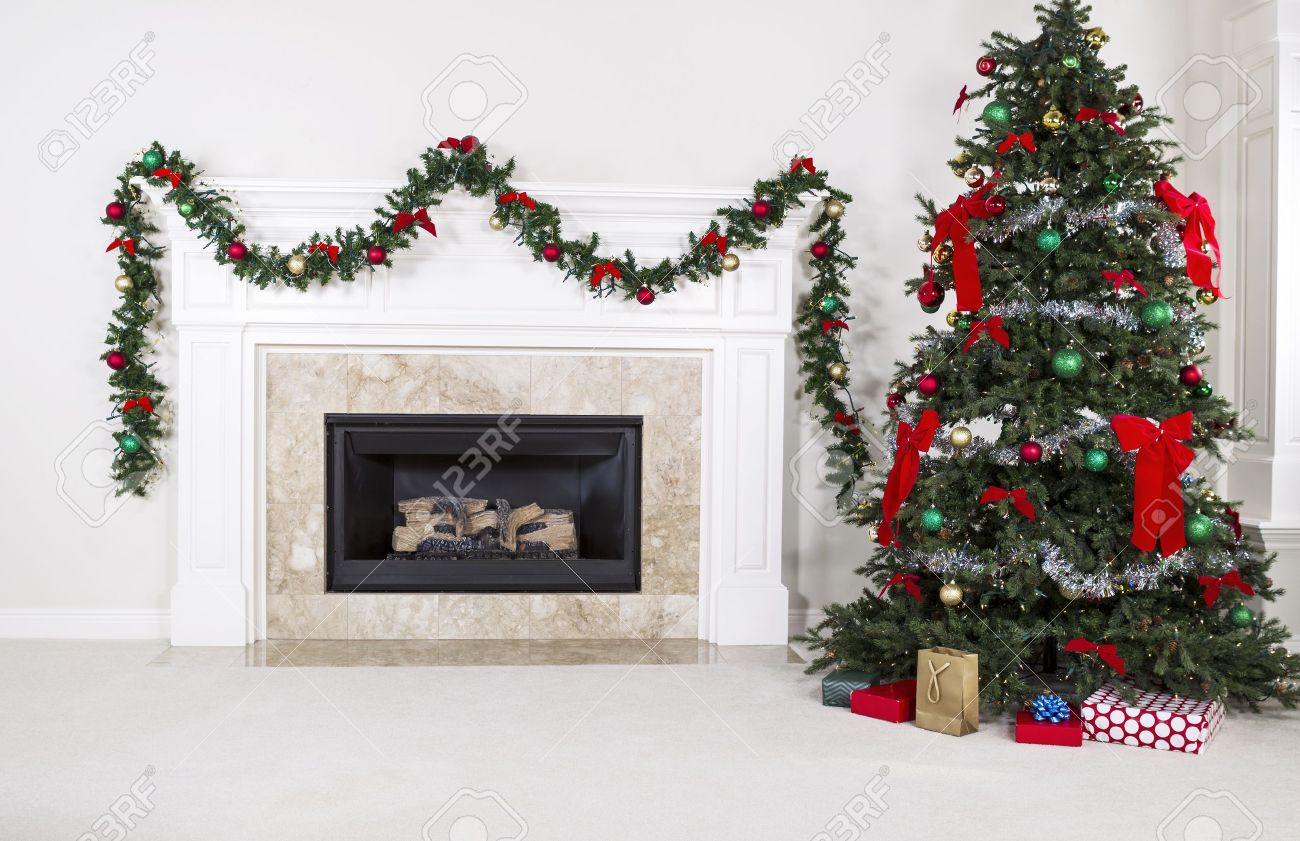 Christmas Tree In Living Room natural gas fireplace with fully decorated christmas tree in