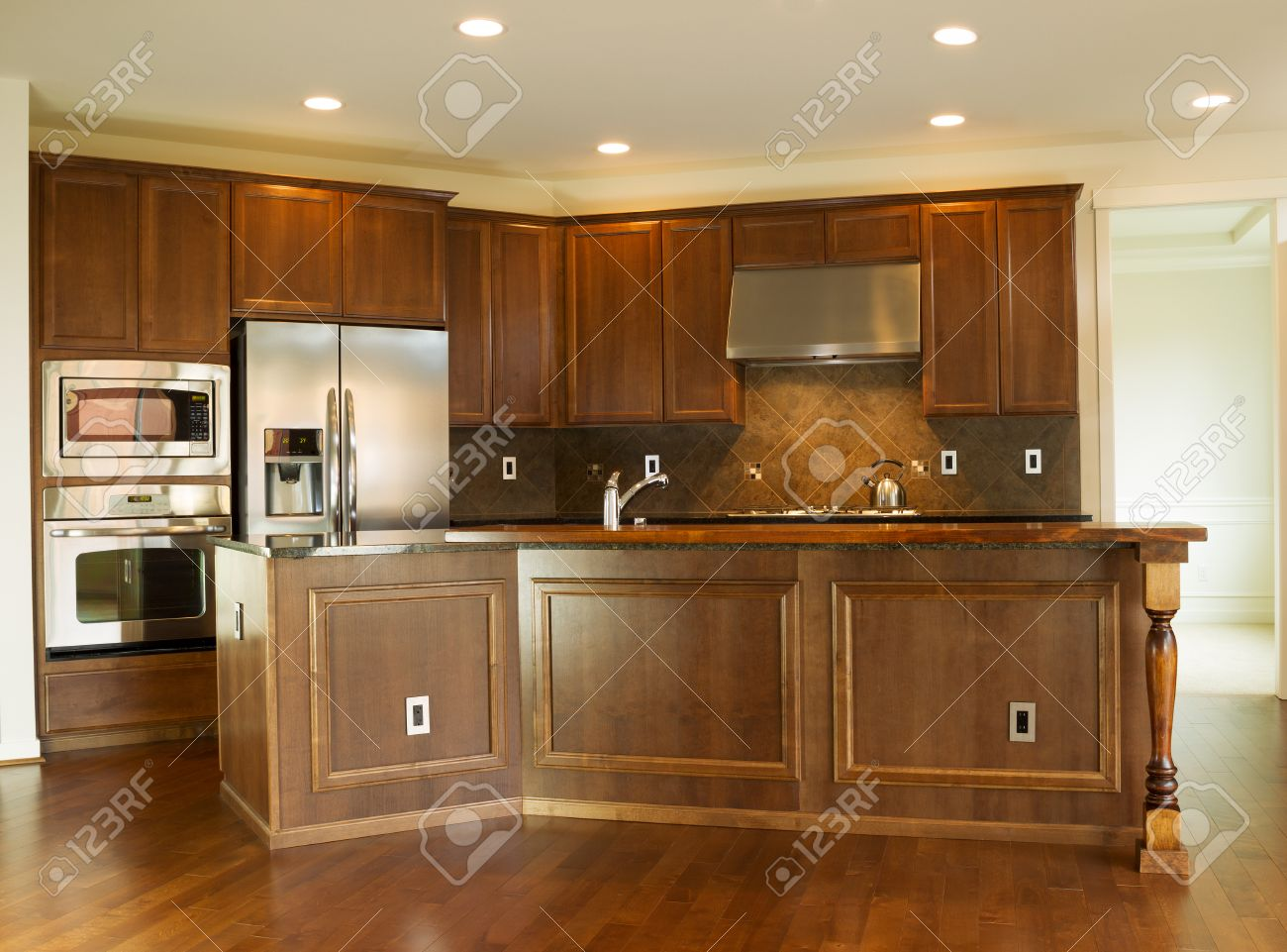 Horizontal Photo Of A Modern Residential Kitchen With Stone Counter Stock Photo Picture And Royalty Free Image Image 26812481