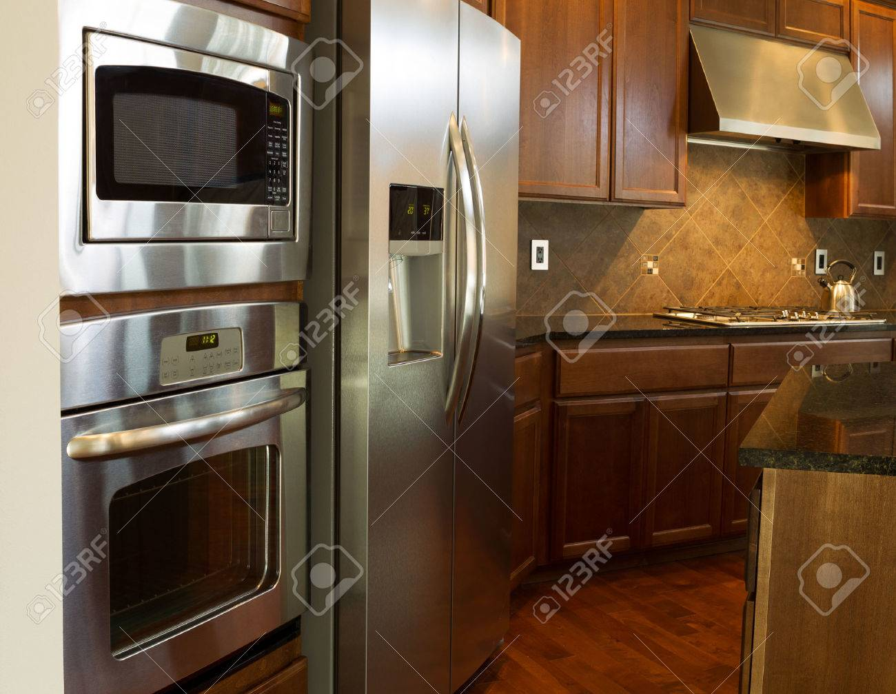 Closeup Photo Of A Stainless Steel Appliances In Modern Residential ...
