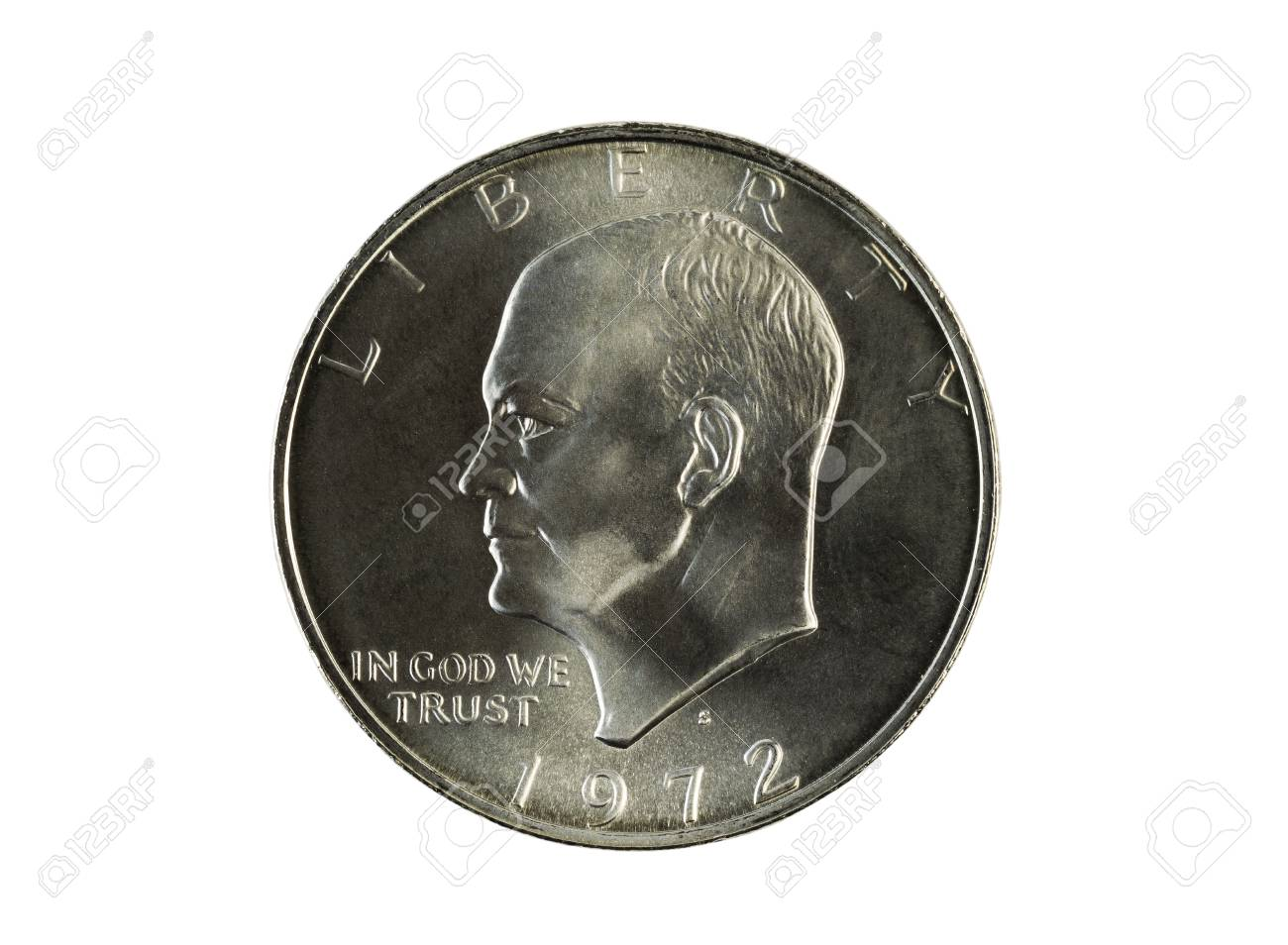 Closeup photo of an Eisenhower Silver Dollar, obverse side, isolated on white Stock Photo - 27523036