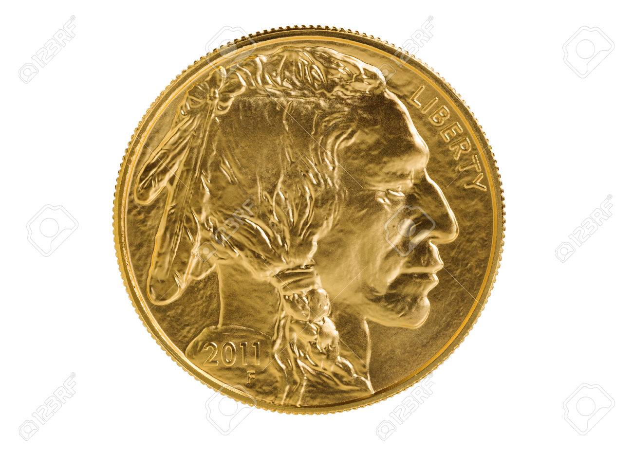 Obverse side of American Gold Buffalo coin fine gold isolated on pure white background. Coin in pristine condition shot in studio with macro lens. - 41655794