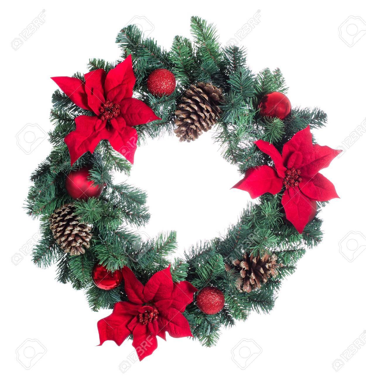 Image Fleur Noel.Couronne Poinsettia Fleur De Noel Isole Sur Fond Blanc