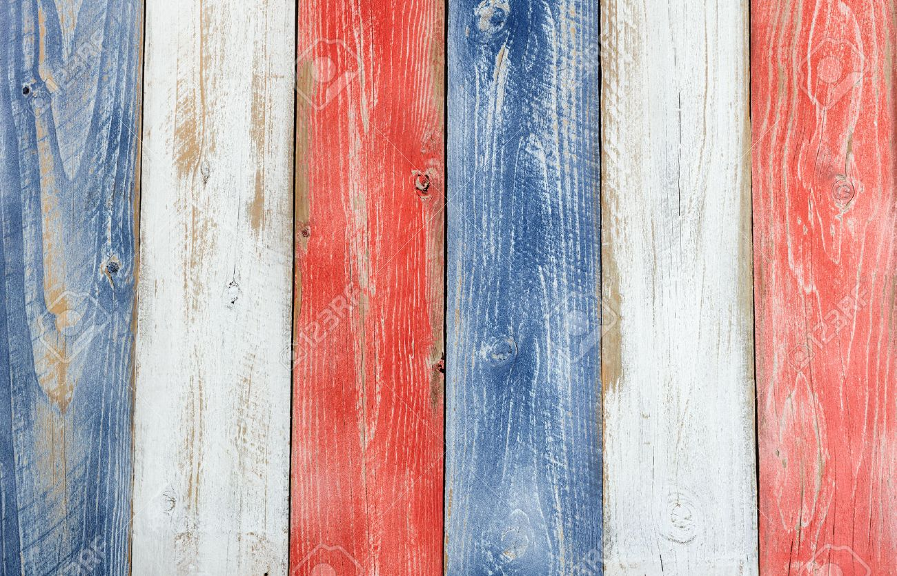 Stressed Wooden Boards Painted Red White And Blue For Patriotic