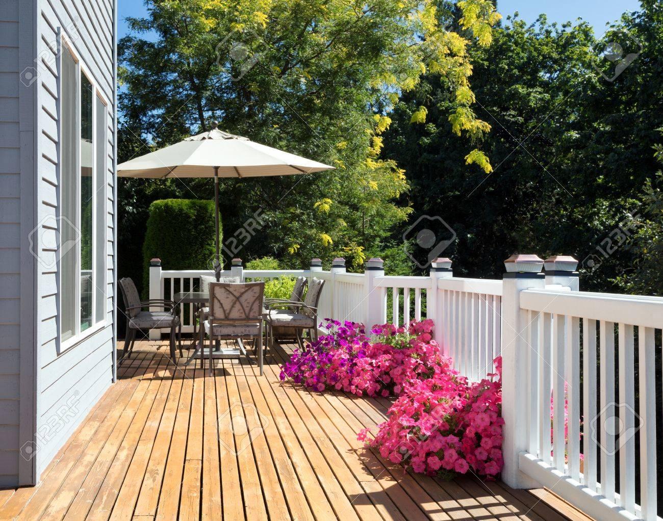 Terrasse d\'été et jardin fleuri en fleurs