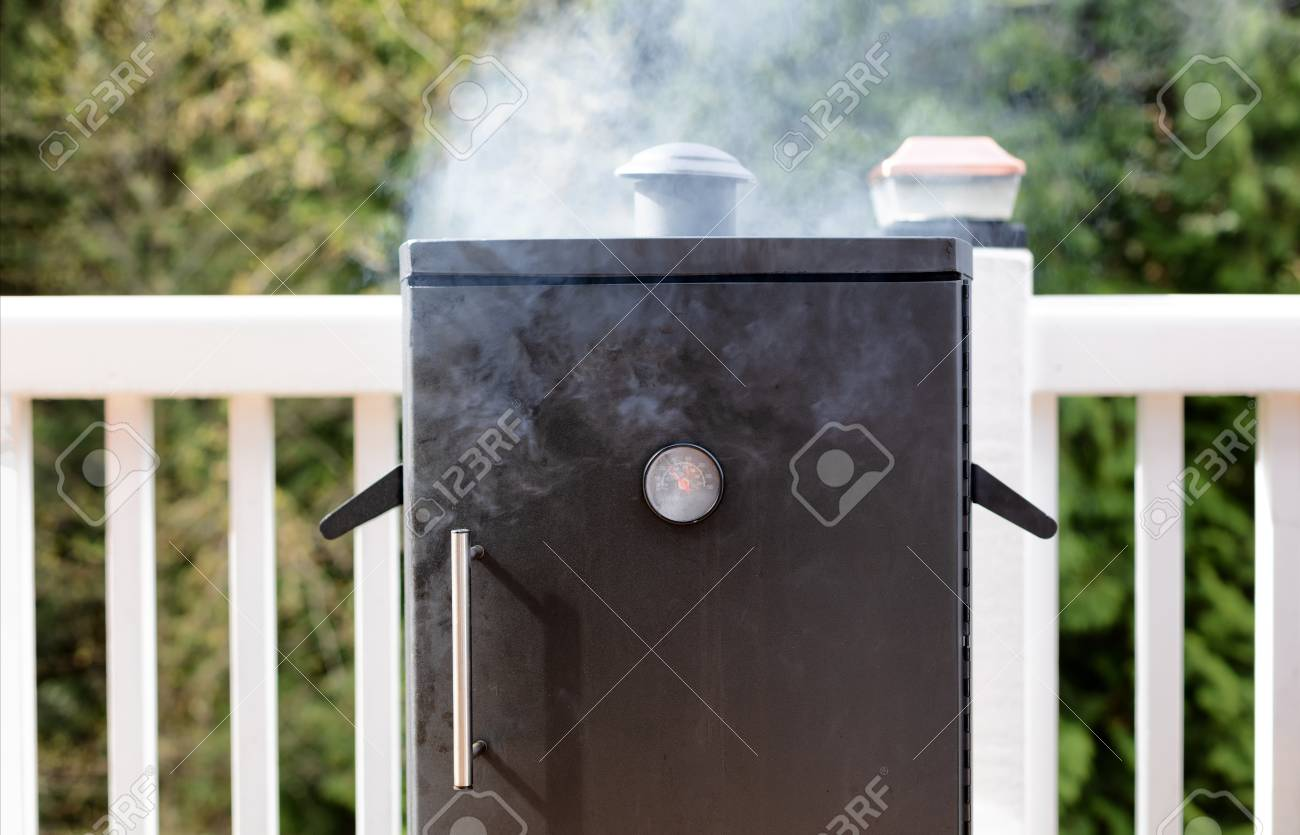 Close up of a cooking smoker with woods in background - 100102120