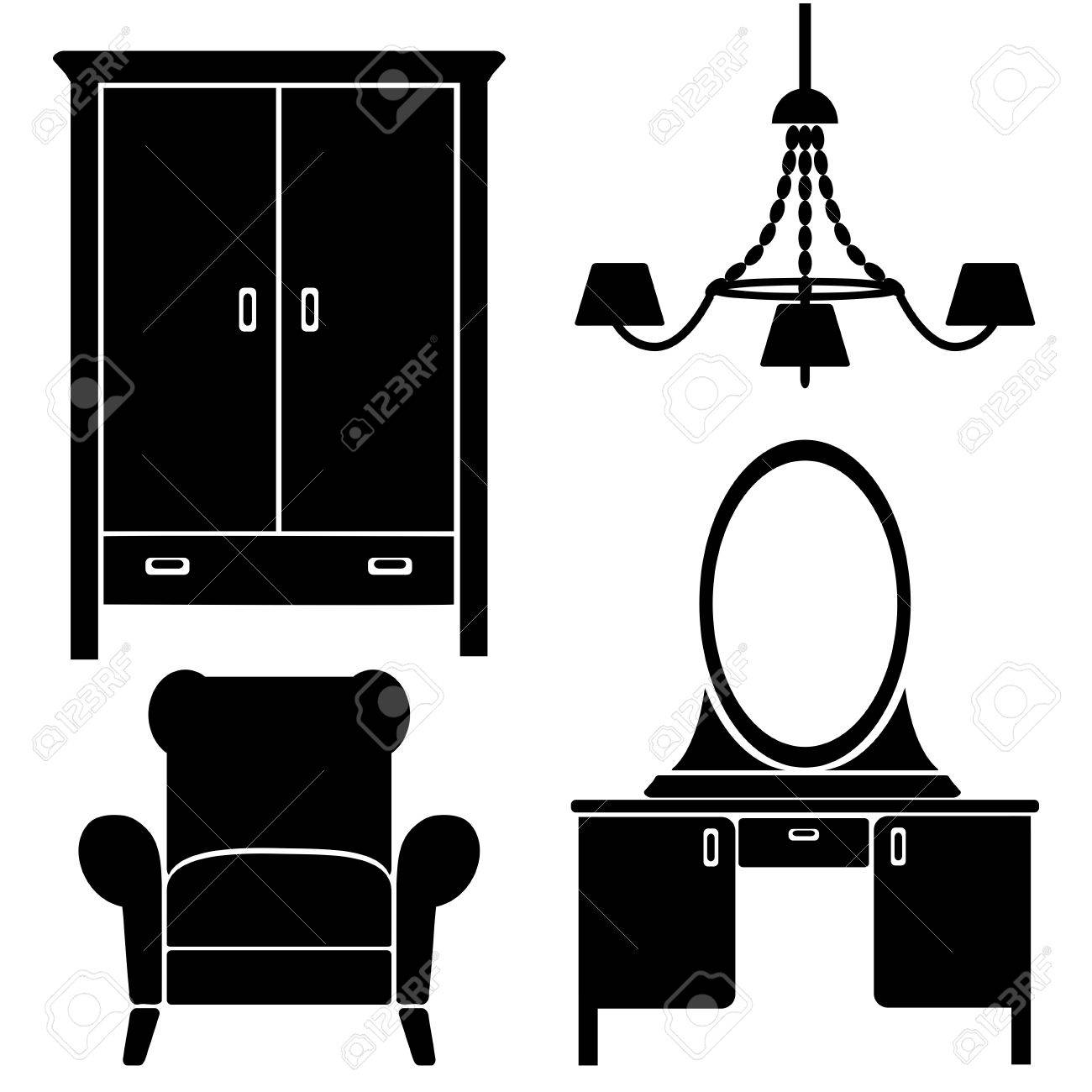 furniture icons, bedroom set Stock Vector - 18710986