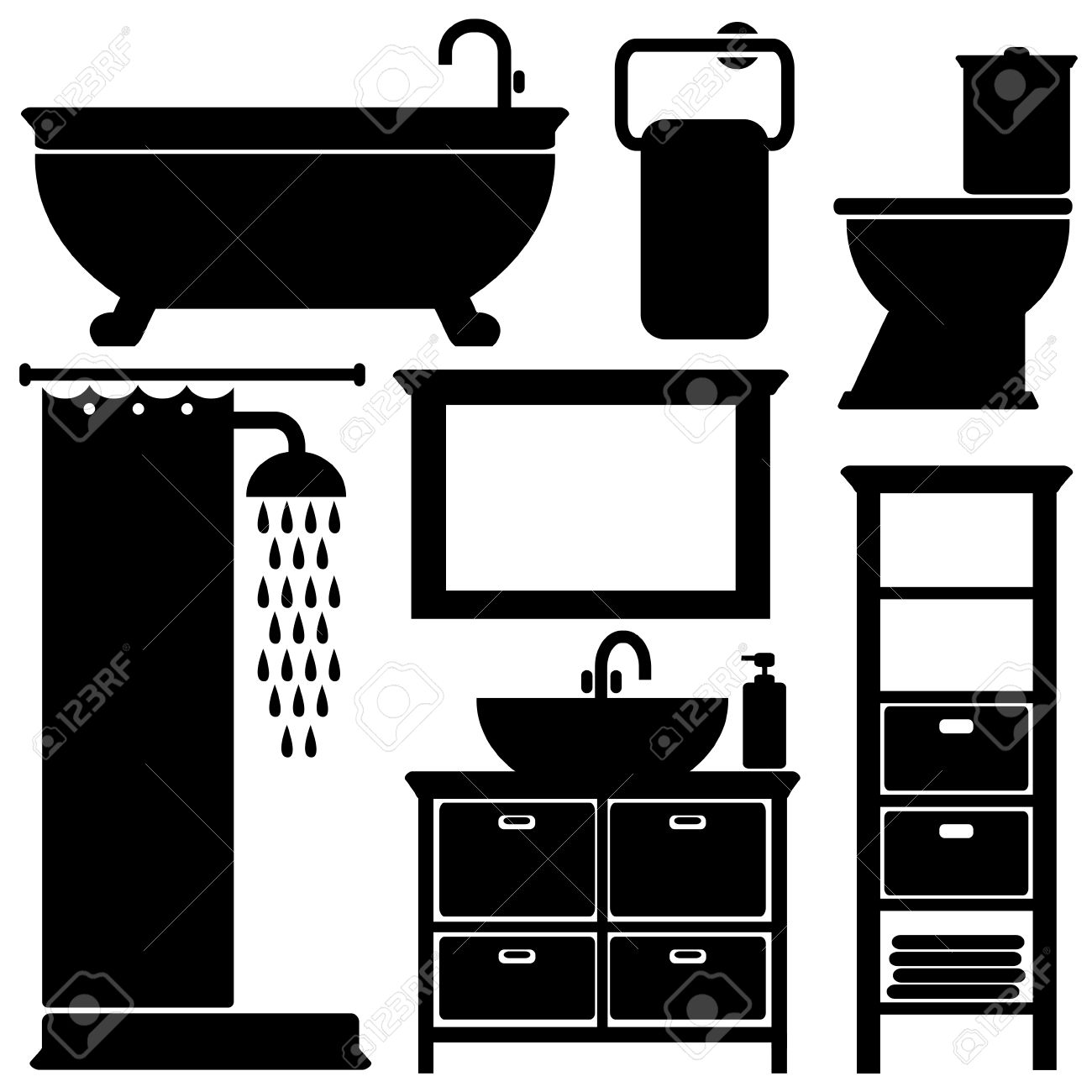 Bathroom Toilet Black Icons Set Silhouettes On White Background Vector Illustration Stock