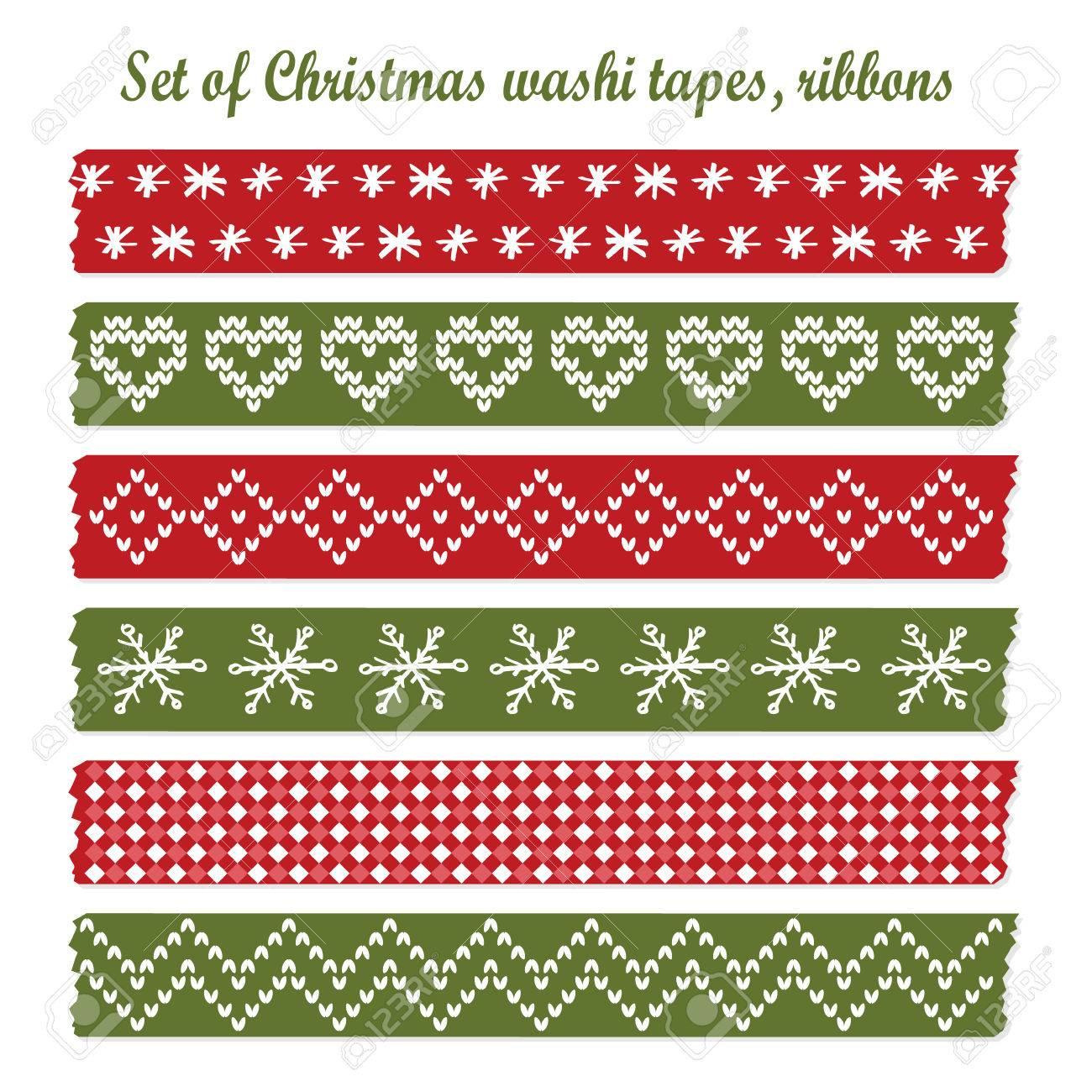 3d0d297accb56 Conjunto De Cintas De Navidad Del Vintage Washi