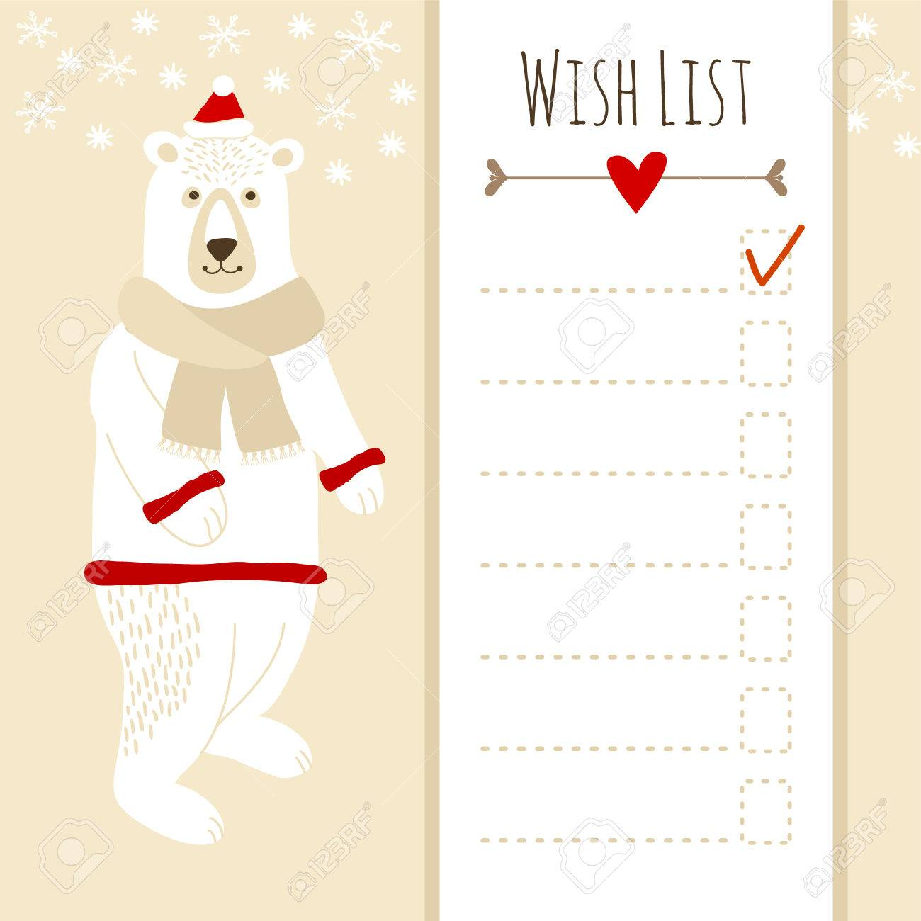 Cute Christmas Card Or Baby Shower Wish List With Polar Bear Stock Vector    32612282
