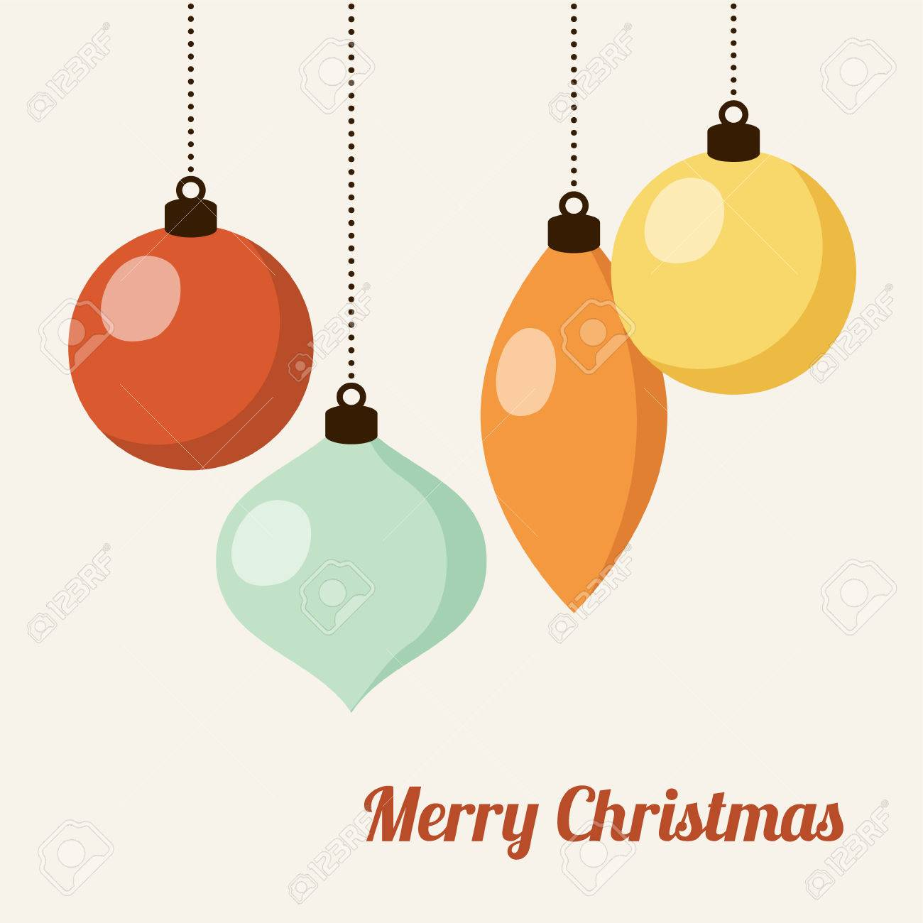 Retro Christmas Card With Christmas Balls, Vector Illustration ...