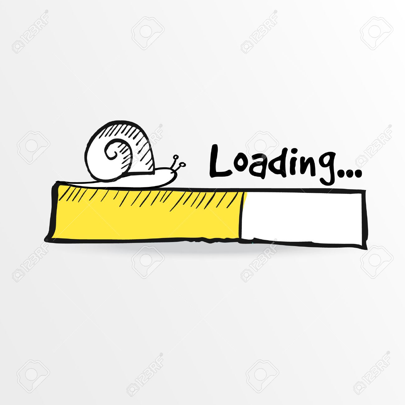 Loading bar with a doodle snail, vector illustration, hand drawn sketch - 33574191