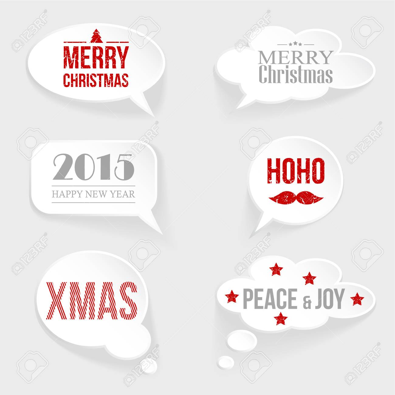 Speech Thought Bubble Set With Christmas And New Year Messages ...