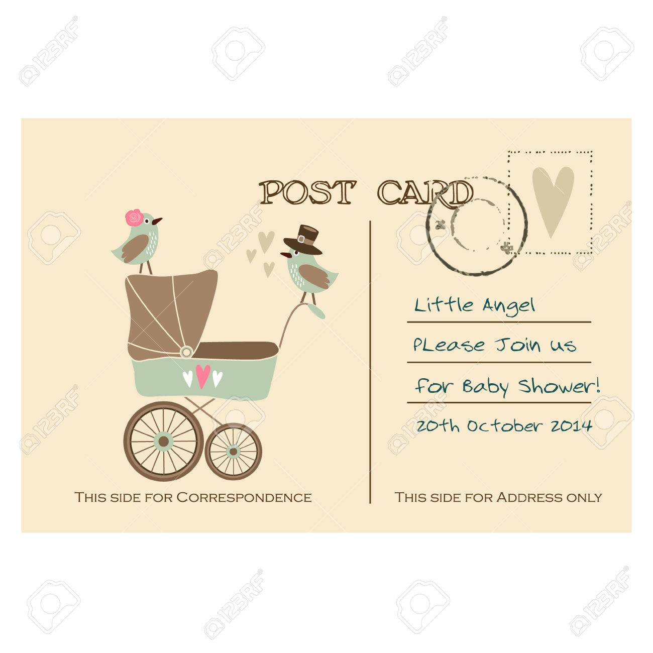 Vintage Cute Baby Shower Greeting Postcard, Invitation With Baby ...