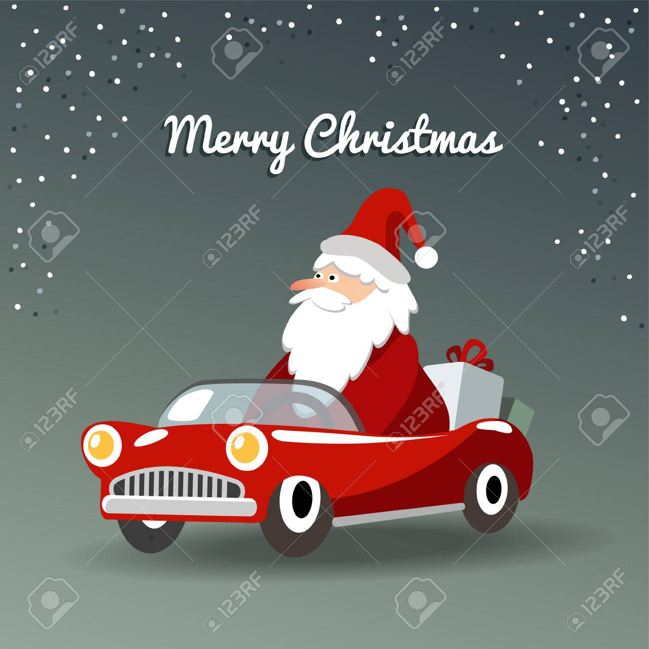 Christmas Sports Background.Cute Christmas Greeting Card With Santa Claus Retro Sports Car