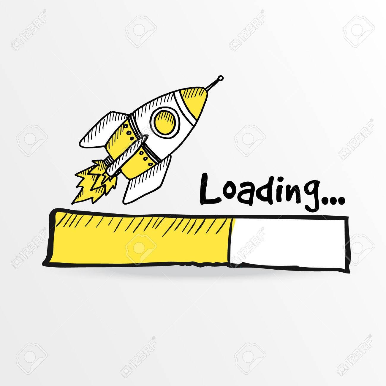 Loading bar with a doodle rocket, vector illustration - 37117376
