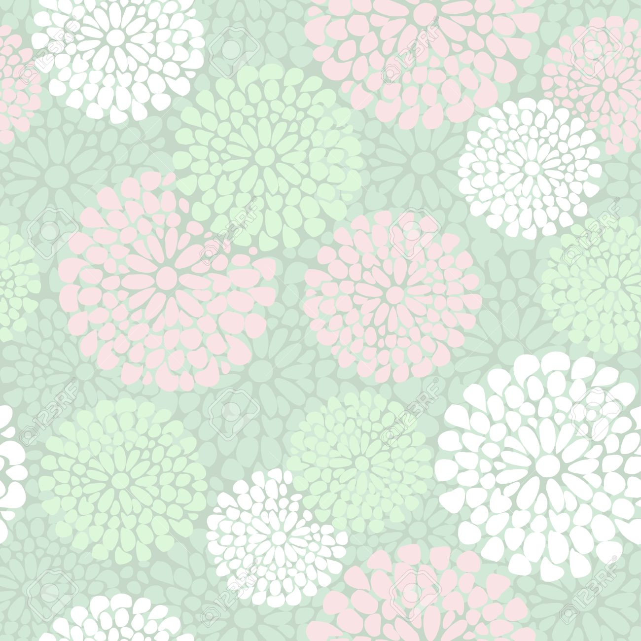 Beautiful Floral Pattern In Pink And Mint Color Vector