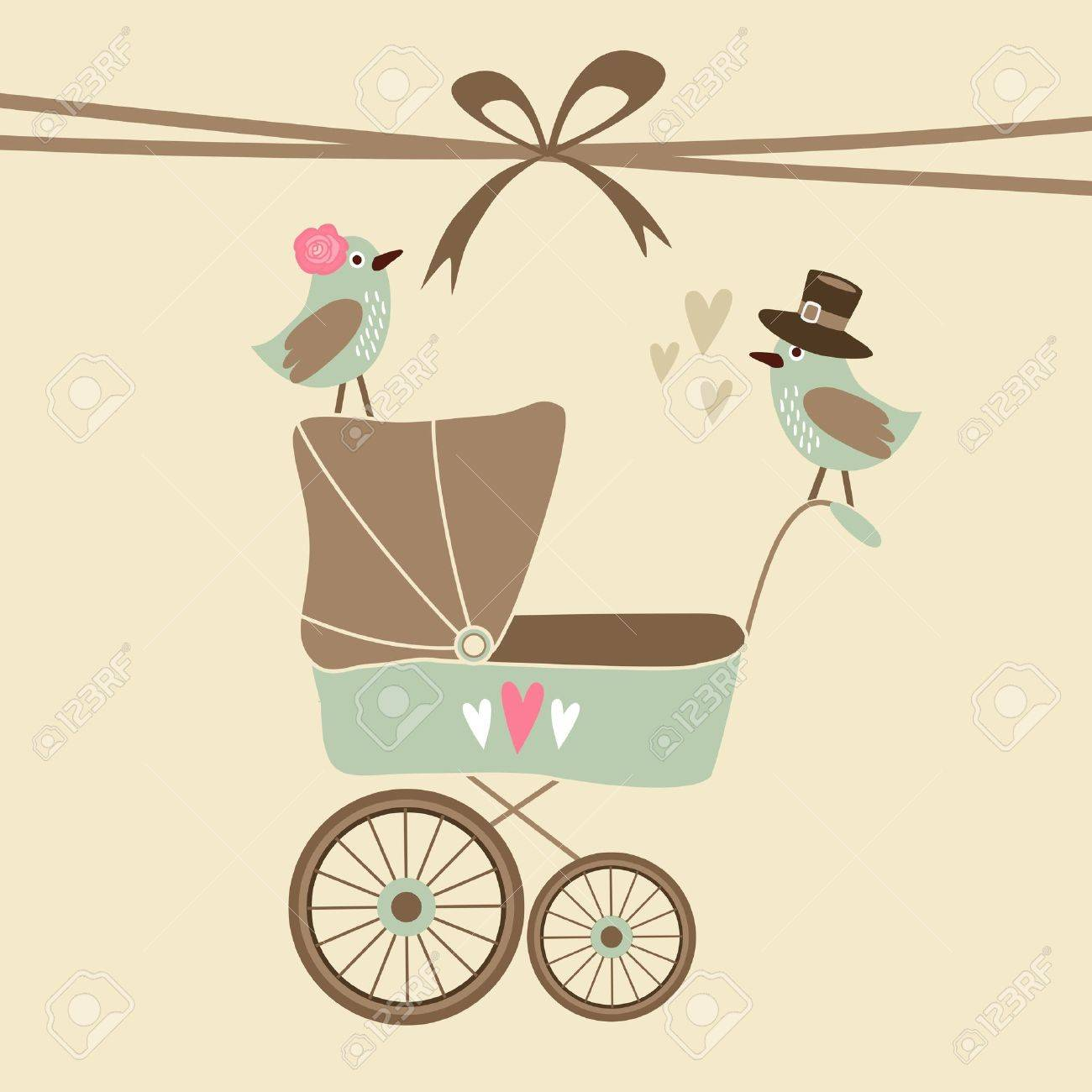 cute baby shower invitation birthday card with baby carriage