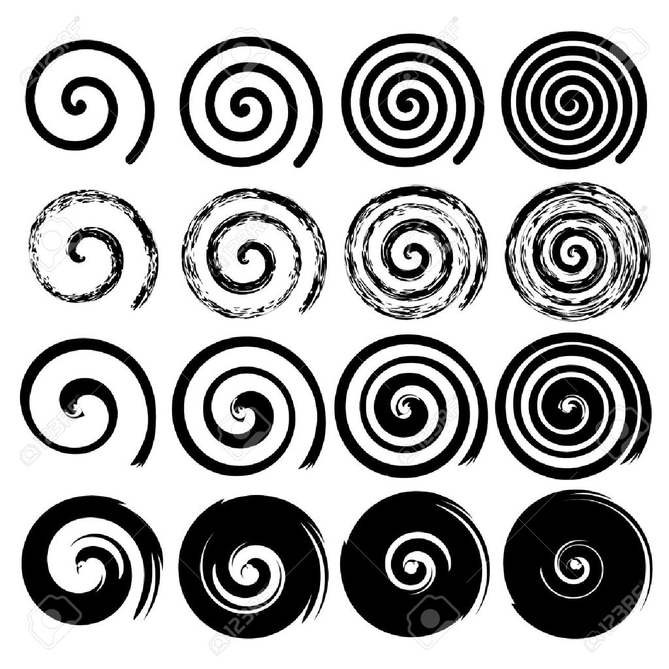 Set of black spiral motion elements isolated objects different brush texture vector illustrations - 40260582