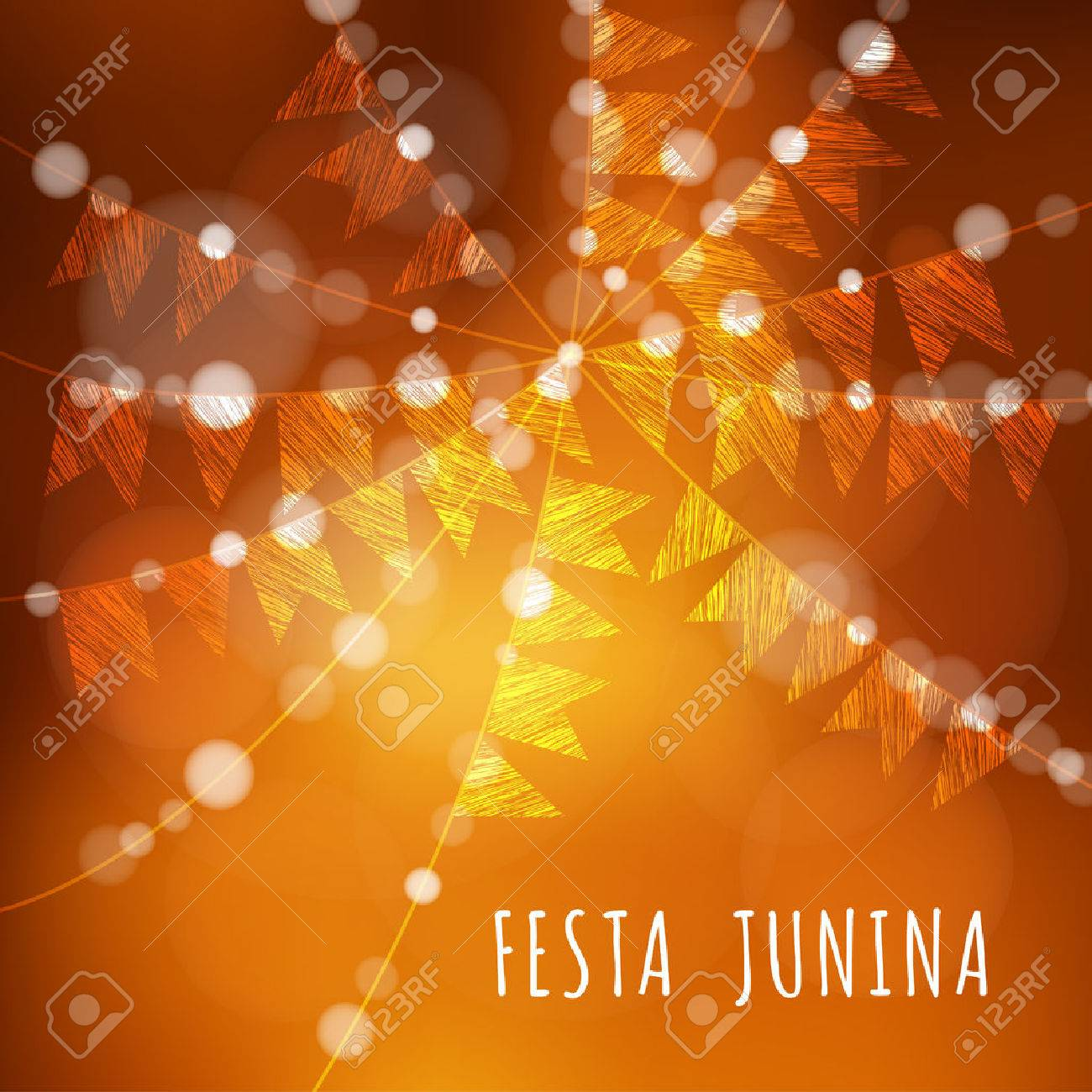 Brazilian june party, vector illustration background with garland of lights and flags - 42122532