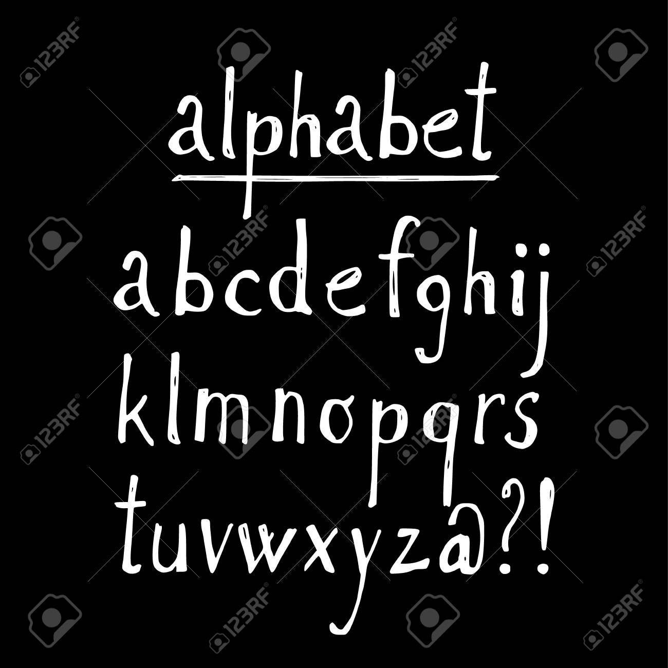 chalk sketched font isolated vector alphabet letters and signs on blackboard stock vector 42915189