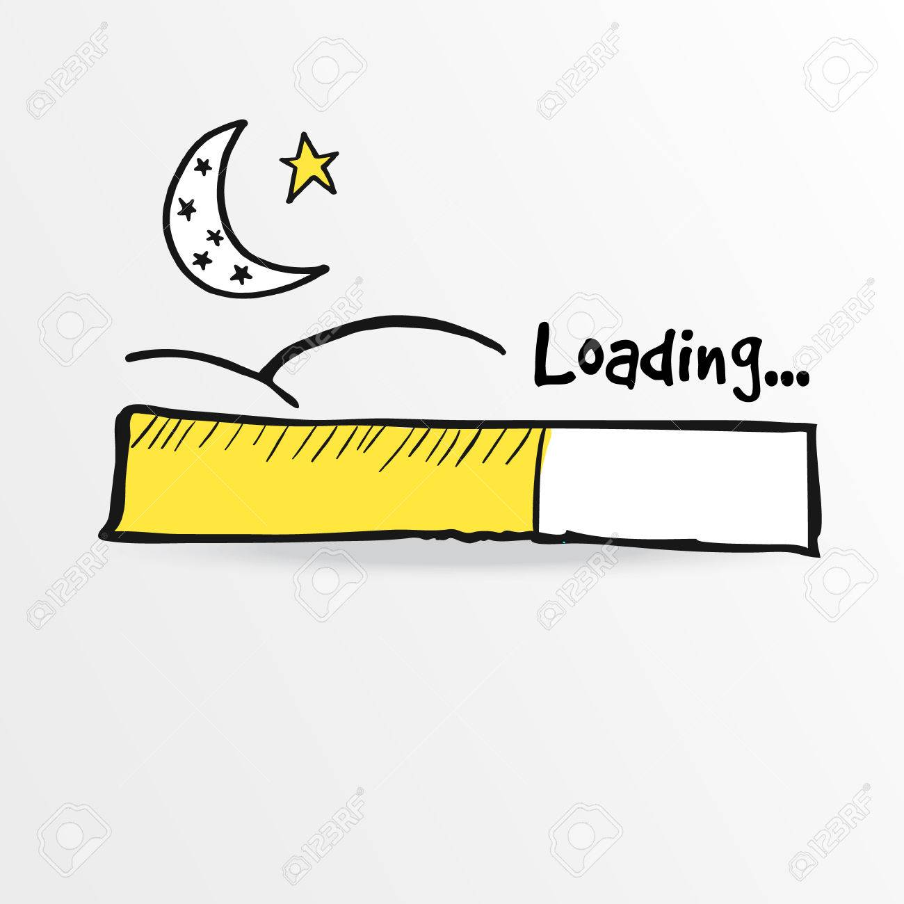 Loading bar with moon and star, vector illustration sketch for holy month Ramadan - 42920252