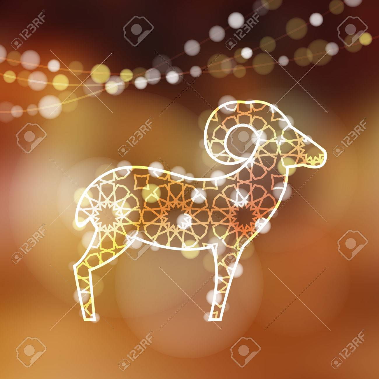 Greeting card with silhouette of ornamental sheep illuminated by lights, vector illustration background for Eid Ul Adha holiday - 44255559
