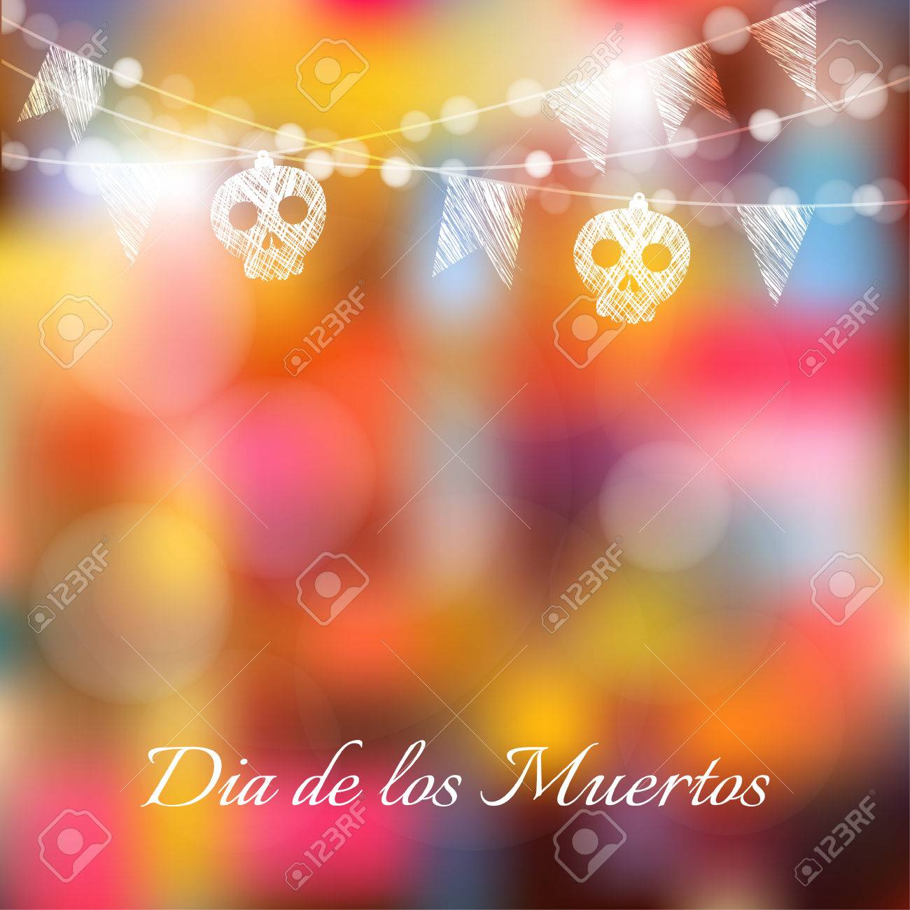 Dia de los muertos (Day of the Dead) or Halloween card, invitation with garland of lights, sculls and party flags, vector illustration background - 45278000