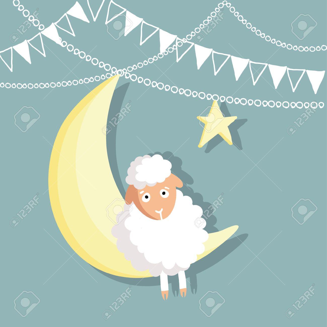 Eid Ul Adha Greeting Card With Sheep Moon Star And Flags Muslim