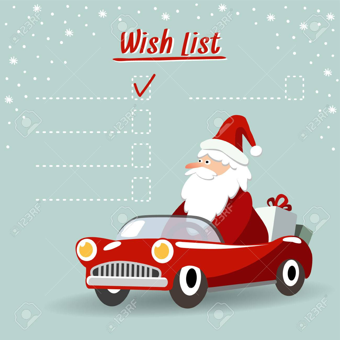 Cute christmas greeting card, wish list with Santa Claus, retro sports car and gifts, vector illustration background - 47108812