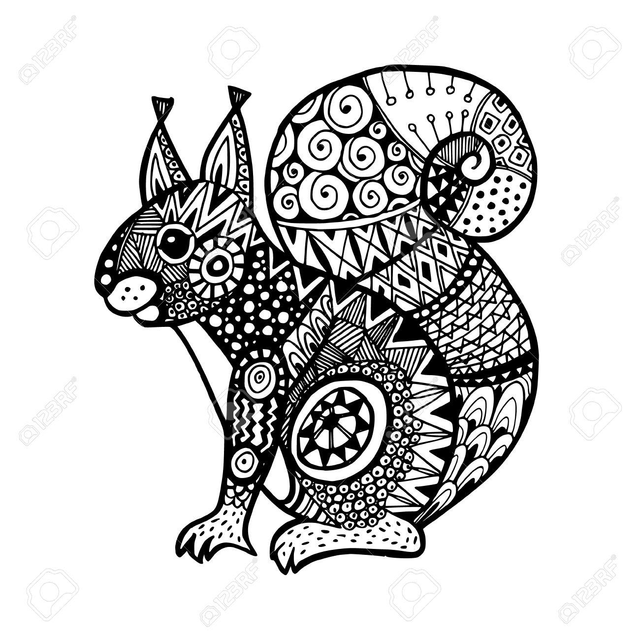 Ornamental Squirrel Trendy Ethnic Zentangle Design Hand Drawn Isolated Vector Illustration Stock