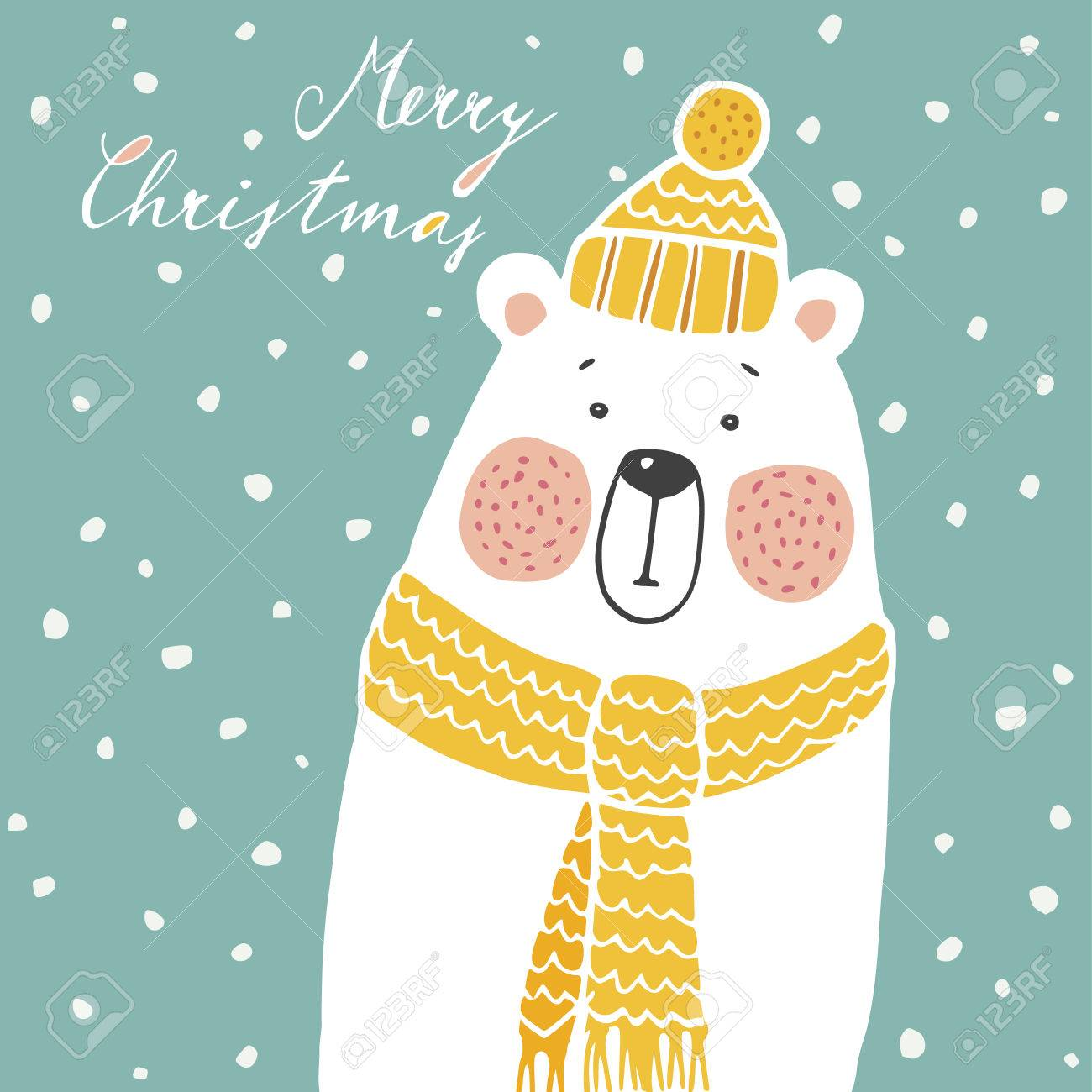 Cute christmas greeting card, invitation, with hand drawn polar bear wearing knitted scarf and hat, vector illustration background - 47449772