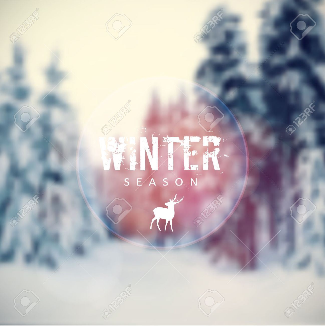 Christmas card with blurred winter landscape with snow covered trees and reindeer icon, vector illustration background - 47657269