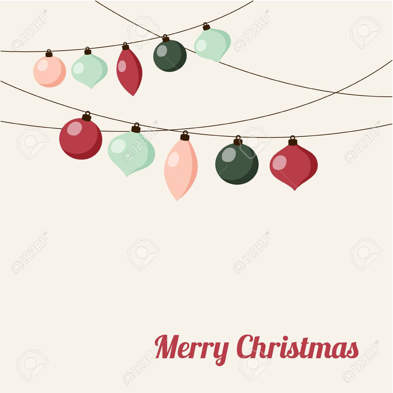 Christmas greeting card with garland of christmas balls, vector illustration background - 47967421