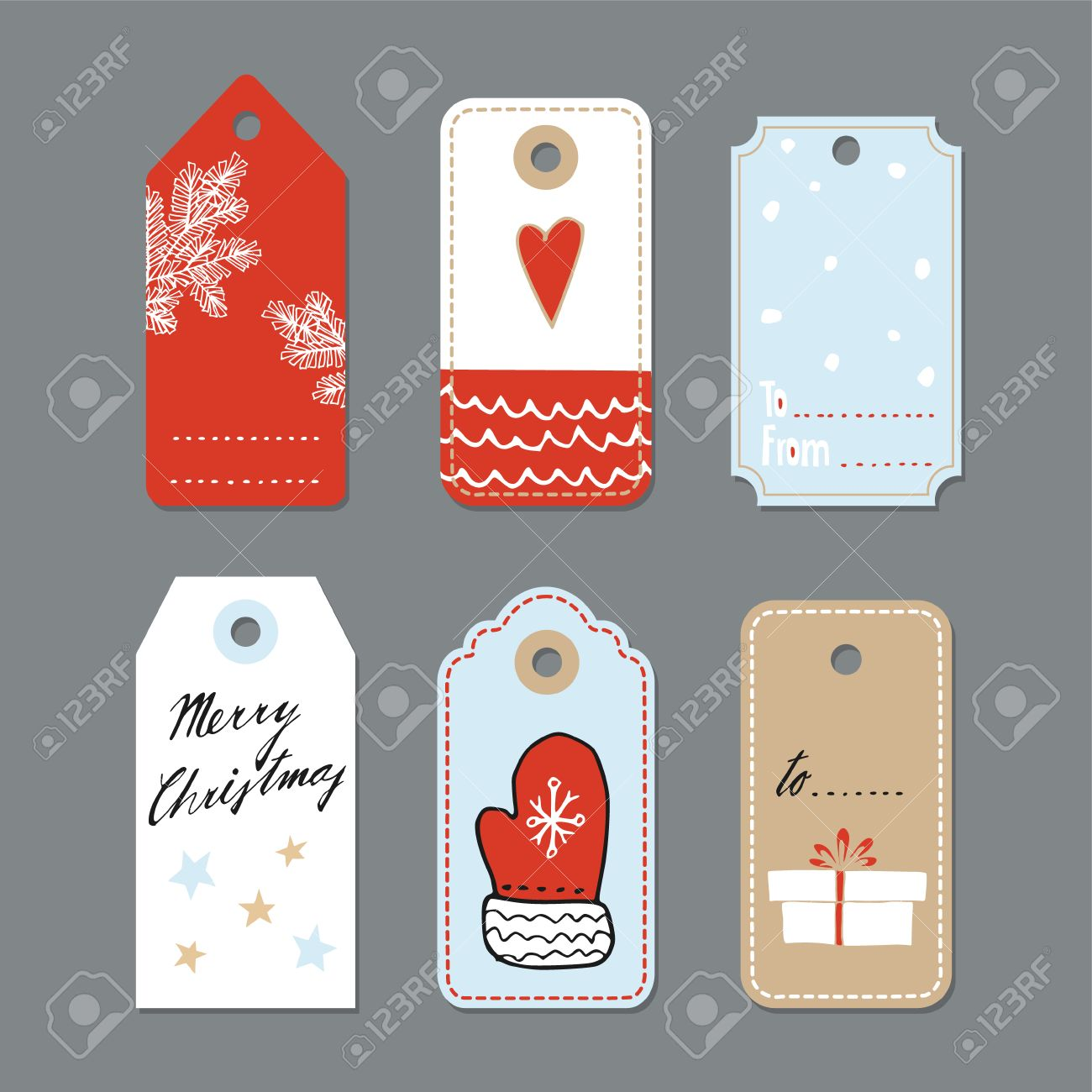 Set of cute christmas gift tags, labels, hand drawn illustrations, flat design, isolated vector objects - 48105437