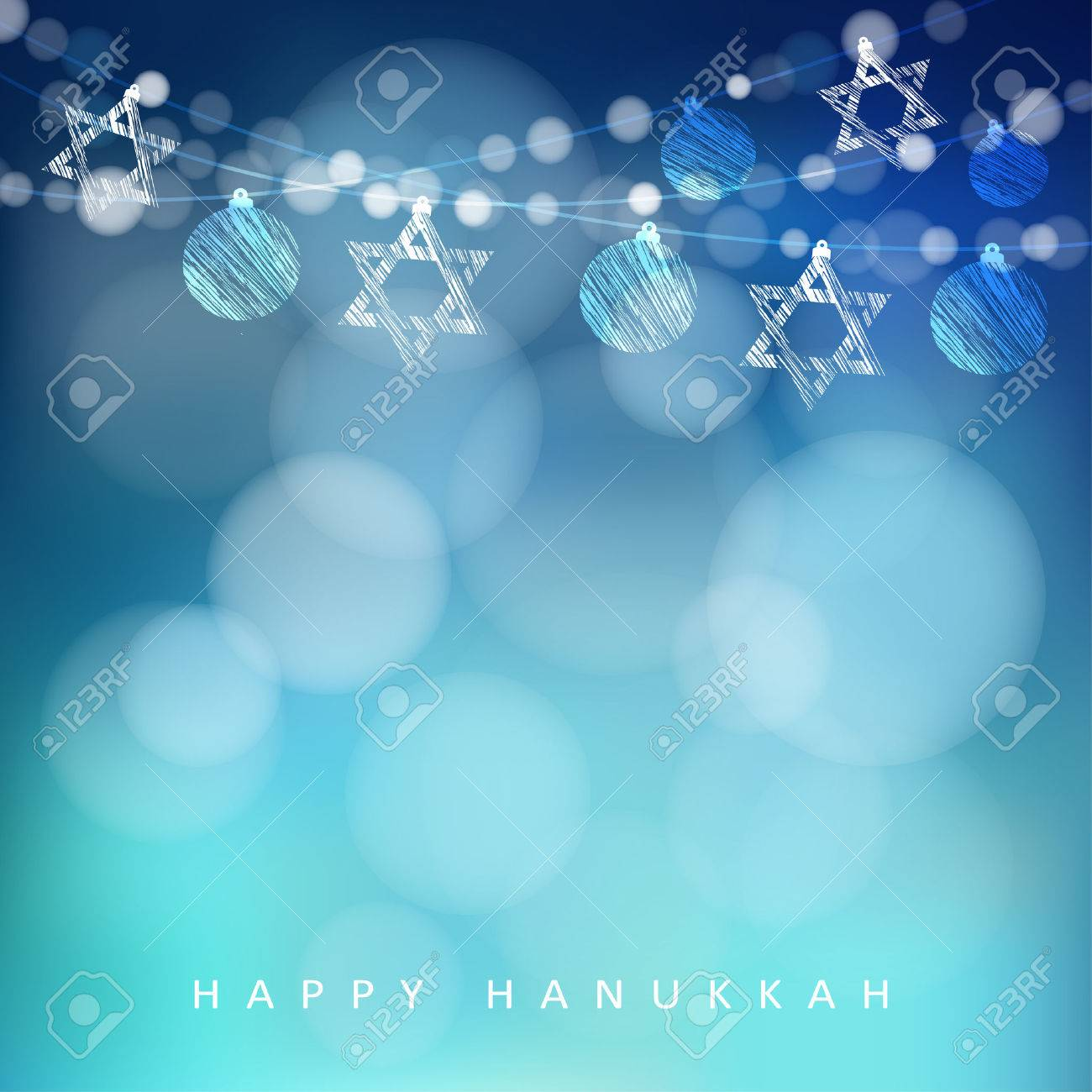 Jewish holiday Hannukah greeting card with garland of lights and jewish stars, vector illustration background - 48281915