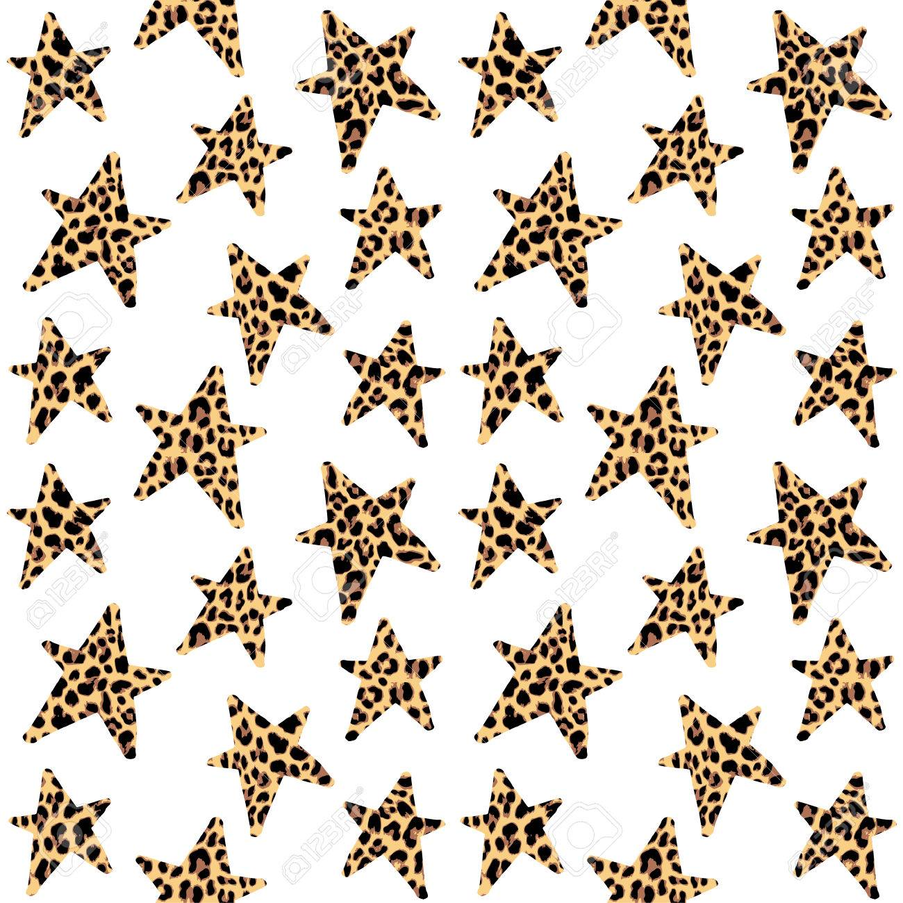 Seamless pattern with leopard stars, trendy rock or punk design, vector illustration background - 48707131
