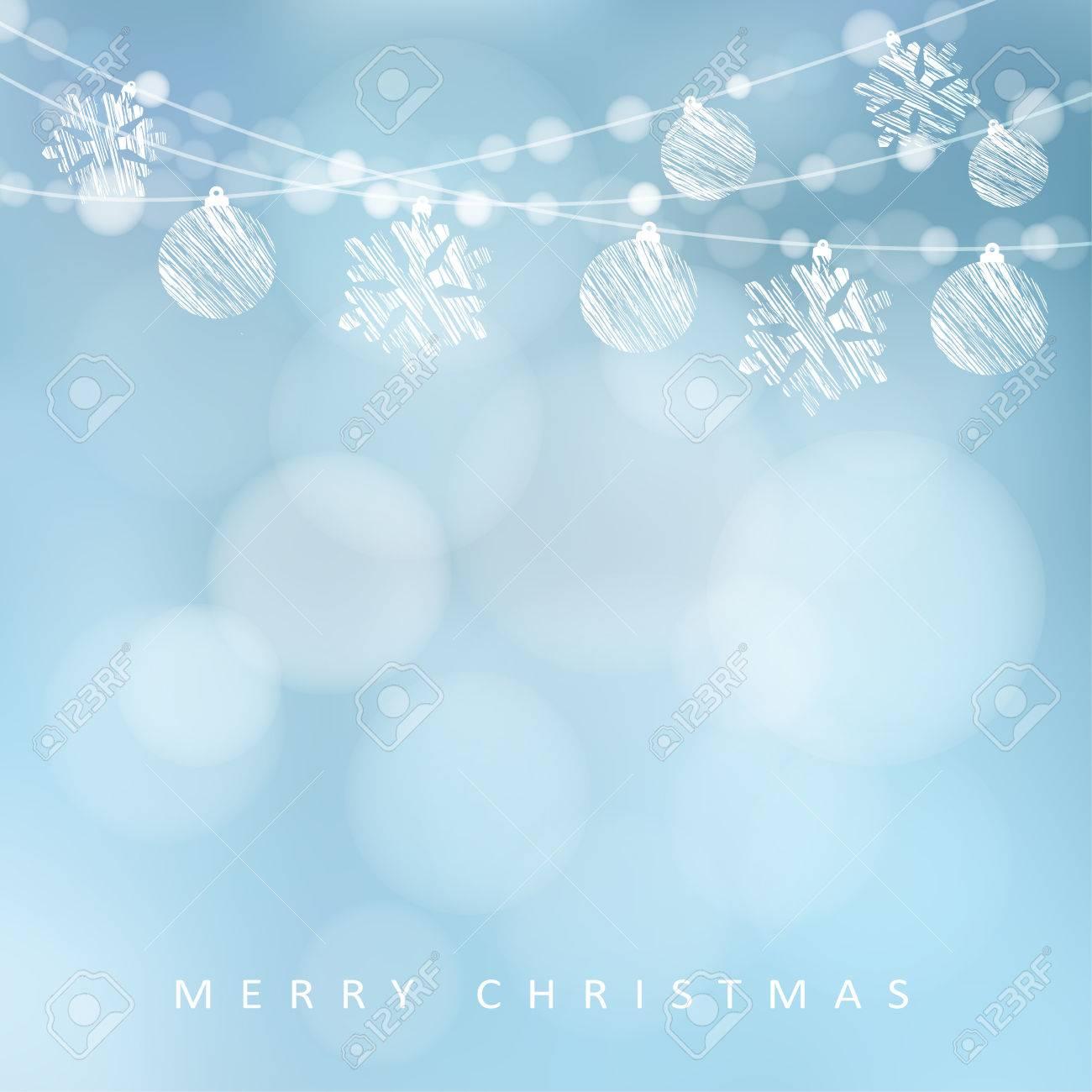 クリスマス ライト、クリスマス ボールや雪、ベクトル イラスト背景の