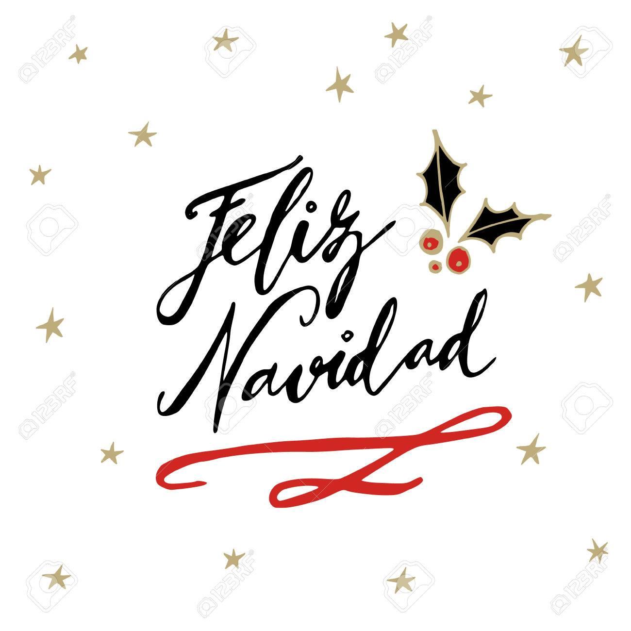 Feliz navidad spanish merry christmas greeting card with feliz navidad spanish merry christmas greeting card with handwritten text and hand drawn holly and m4hsunfo