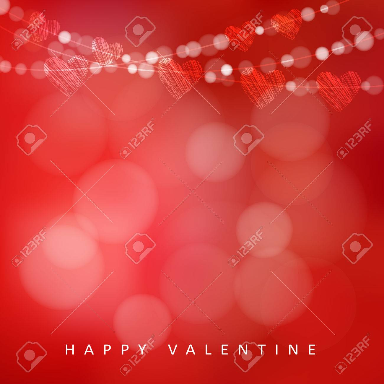 Valentines day card with garland of lights and hearts, vector illustration background - 49852665