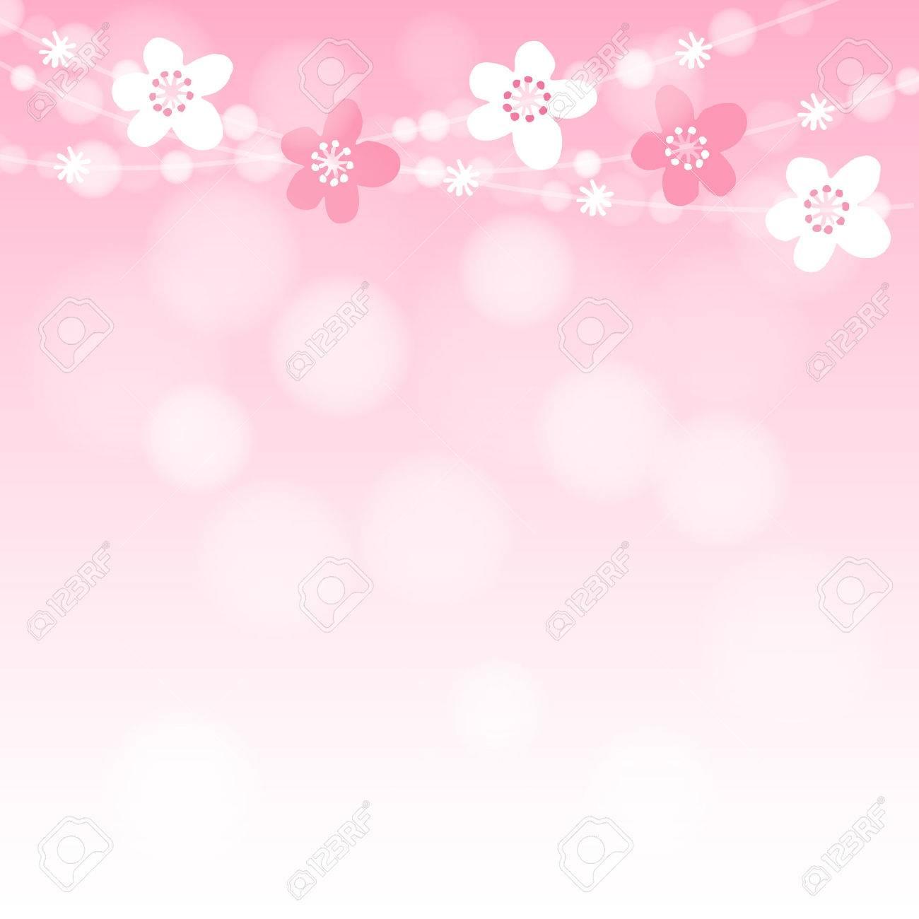 桜の木の花ガーランドとライト、ピンクのベクトル イラスト背景
