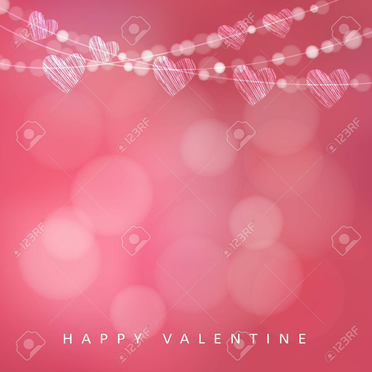 Valentines day card with garland of lights and hearts, vector illustration background - 51290458