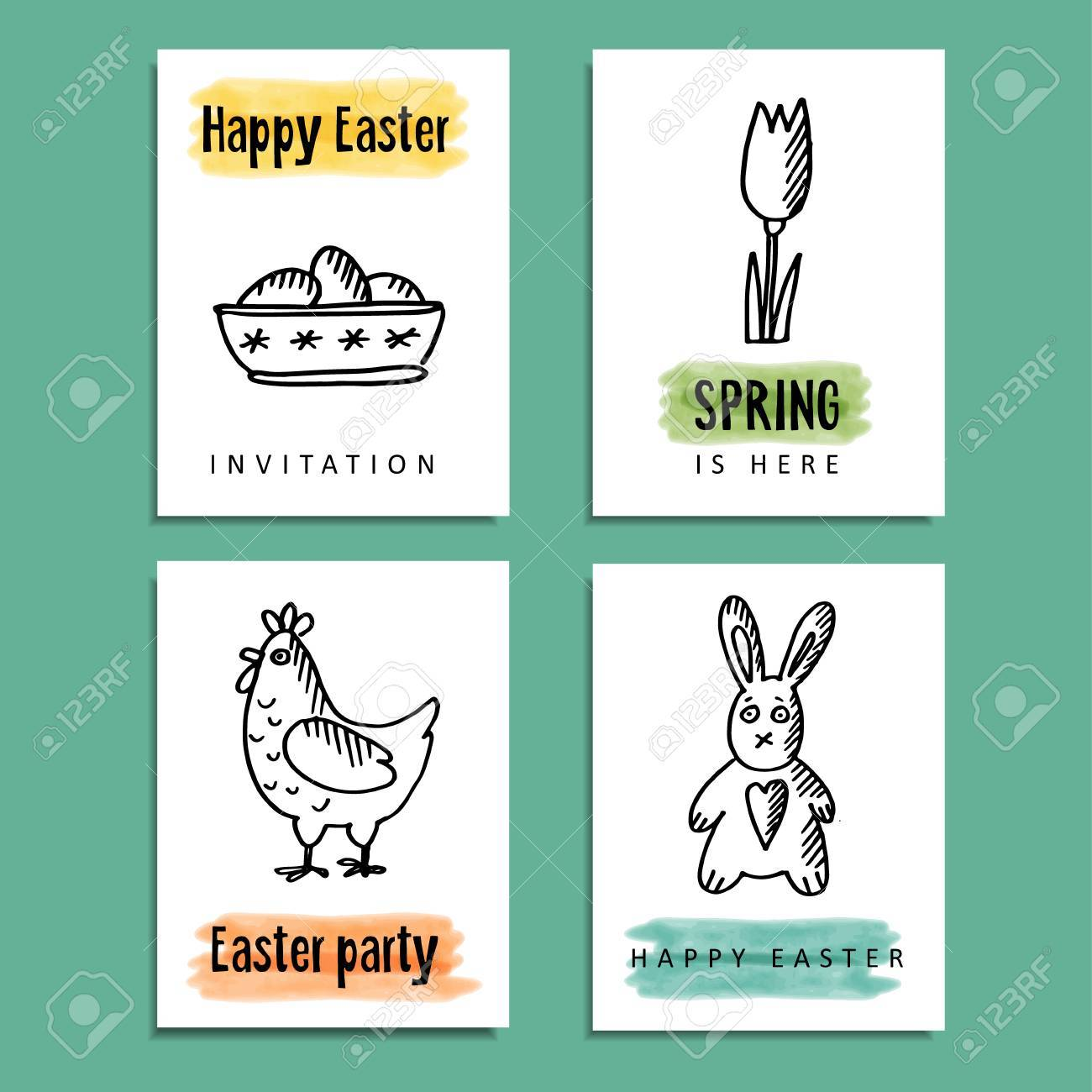 Set Of Funny Spring Easter Greeting Cards With Doodle Illustrations